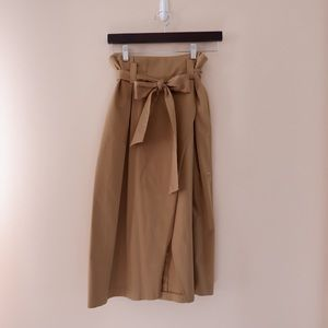 Zara Khaki Skirt with Bow